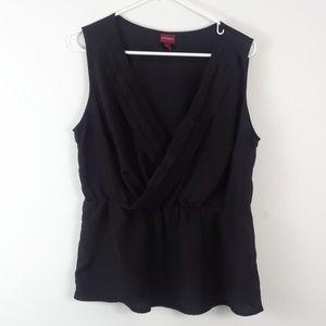 MERONA XL BLACK FAUX WRAP TOP